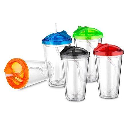 copo plástico com tampa e canudo