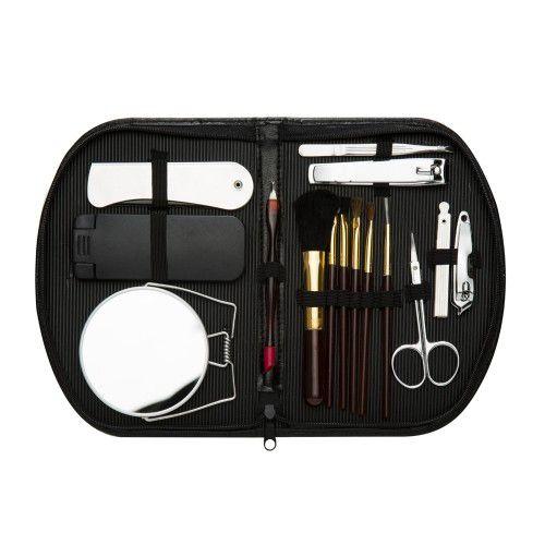 kit Manicure 15 peças com estojo de couro sintético e zíper.