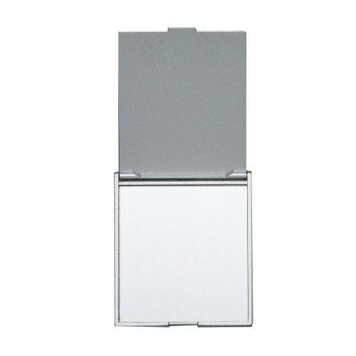 Espelho plástico retangular, frente e verso liso.