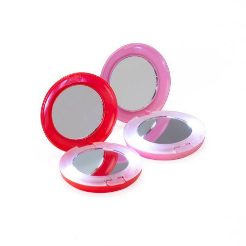 Espelho plástico redondo duplo com aumento e com luz.
