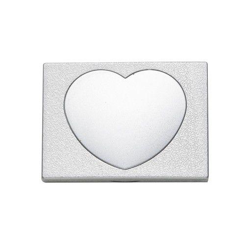 Espelho duplo sem aumento com um coração central na tampa