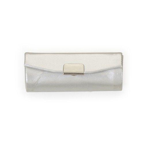 Porta batom em couro sintético prata