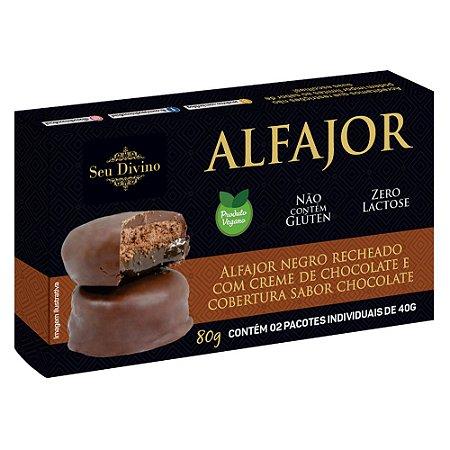 Alfajor Negro Vegano - Recheado com Creme de Chocolate e Cobertura sabor Chocolate - 80g
