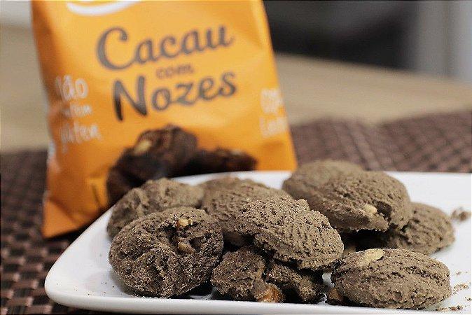06 Cookies Cacau com Nozes de 60g - Sem Glúten, Sem Leite e Sem Soja
