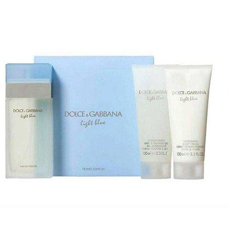89ee6c164b4cf Kit Light Blue Dolce   Gabbana Eau de Toilette 100ml + Body Cream 100ml +  Bath
