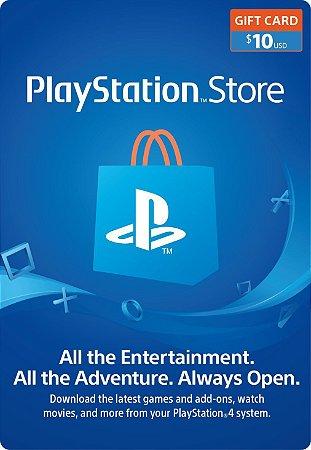 Playstation - Cartão PSN $ 10 Dólares USA