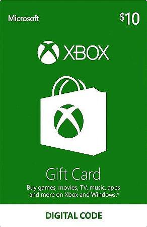 Xbox - Cartão Presente $ 10 Dólares