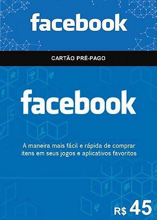 Facebook - Cartão Pré-Pago R$ 45,00
