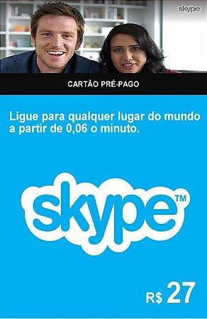 Skype - Cartão Pré-Pago R$27,00