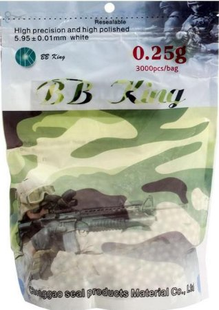 Esferas Airsoft (BBs) - 0,25g BB King 3000 Unidades