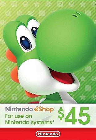 Nintendo eShop Switch / 3DS / WII U  - Cartão $45 Dólares - USA