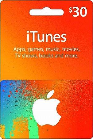 Itunes - Cartão App Store $ 30 Dólares USA