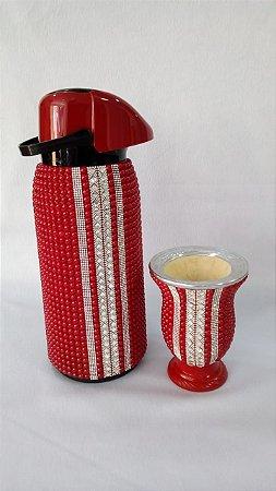 kit garrafa termica e cuia decorada