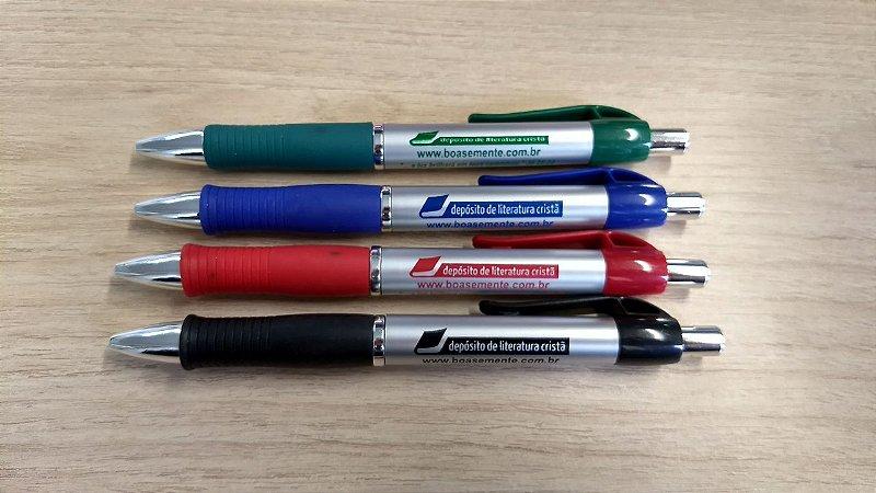 Pacote com 8 canetas esferográficas grip DLC com versículo