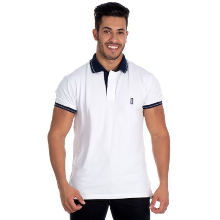 Camiseta Gola Polo Lucas Lunny Branca Gola Azul