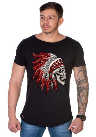Camiseta Lucas Lunny Oversized Longline Caveira cocar