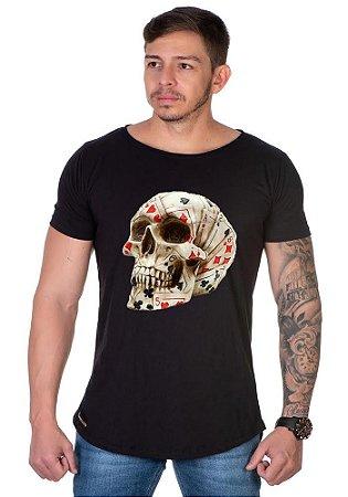 Camiseta Lucas Lunny Oversized Longline Caveira Baralho