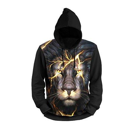 Moletom 3D Flanelado Estampado Leão com Bolso