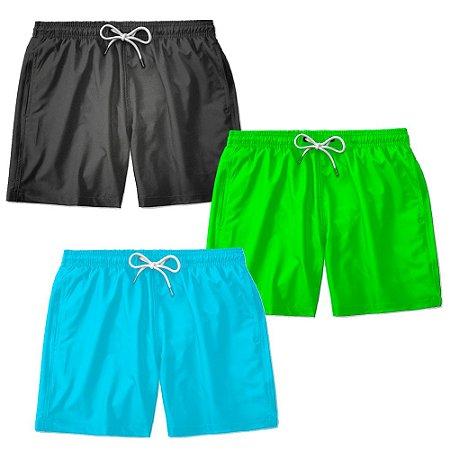 Kit 3 Shorts Praia Basico Liso Lucas Lunny Masculino Ajustável