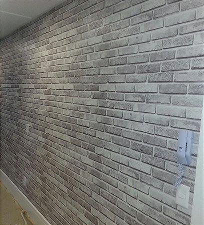 5e45377c3 Papel de parede vinilico lavável tijolinho cinza 87135-1 - Papéis de ...