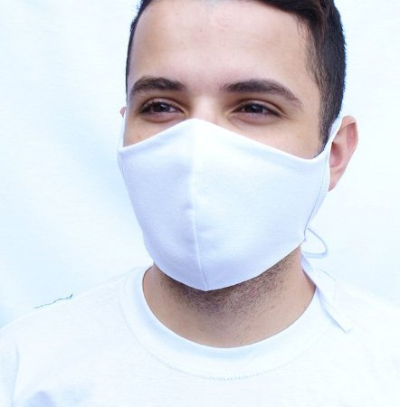 Máscara Branca Lavável Confeccionada em Tecido Camada Dupla
