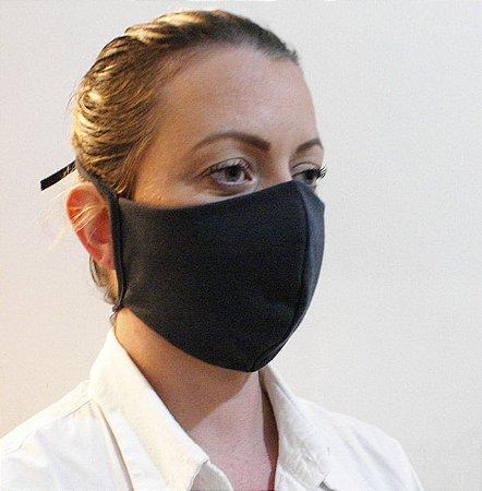 Máscara Cor Preta Lavável Confeccionada em Tecido Camada Dupla