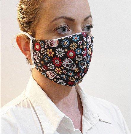 Máscara Divertida Caveira Mexicana com 2 Camadas de Proteção