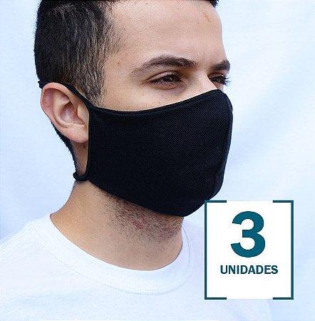 Kit com 3 Máscaras Cor Preta Anatômica com Camada Dupla