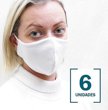 Kit com 6 Máscaras Brancas de Elásticos para Orelhas