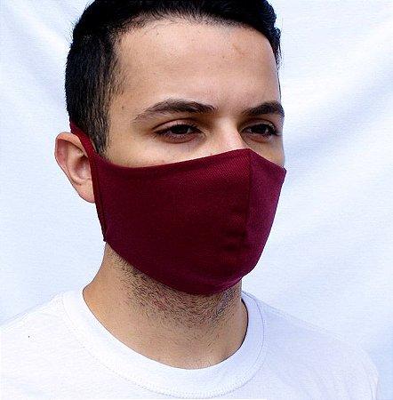 Máscara Bordô Lavável Confeccionada em Tecido Camada Dupla