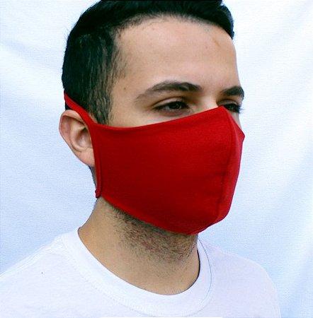Máscara Vermelha Confeccionada em Tecido Camada Dupla