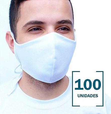 100 Máscaras Brancas sem Estampa com Camada Dupla de Proteção c/ Tiras