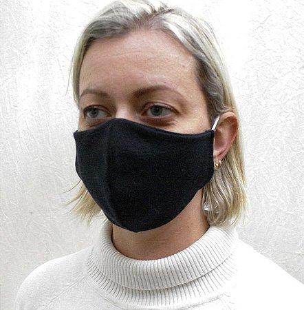 Máscara Preta com Elásticos Confeccionada em Dupla Camada de Tecido