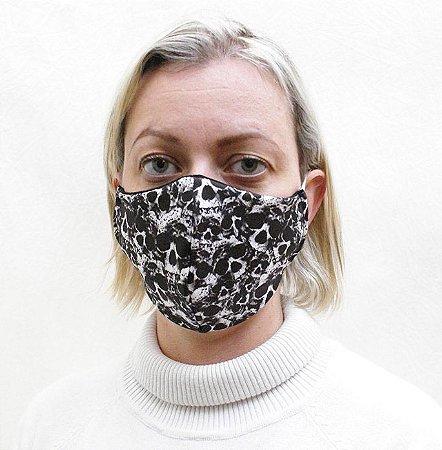Máscara com Estampa de Caveira confeccionada em Tecido Duplo e Elásticos