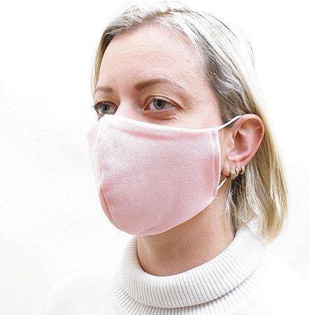 Máscara Rosa Claro em Tecido de Camada Dupla com Elásticos