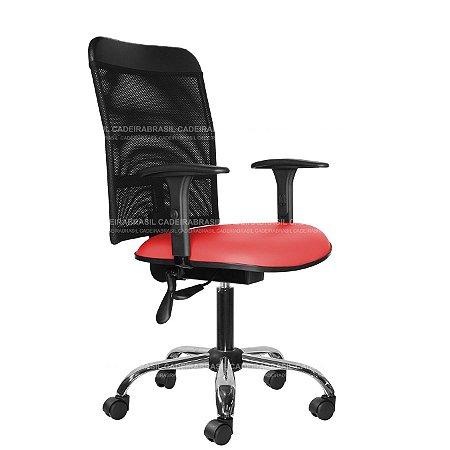 Cadeira Escritório Ergonômica Executiva - Com Braços - Base Cromada - New Tela CB 2018