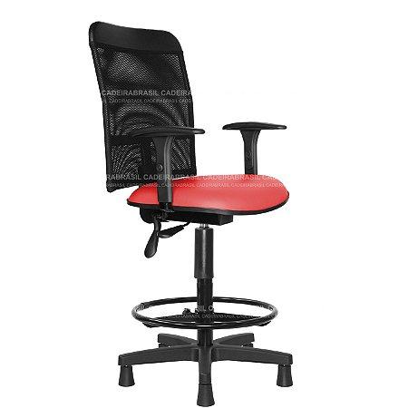 Cadeira Caixa Alta Ergonômica - Com Braços - Base Aço Capa - New Tela CB 2022