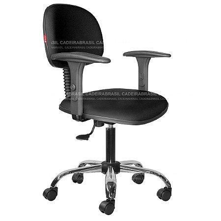 Cadeira Secretária Giratória - Com Braço - Base Cromada - CB 1882