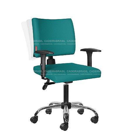 Cadeira Escritório Ergonômica Executiva com Braços Base Cromada Ideale Plus CB 3018