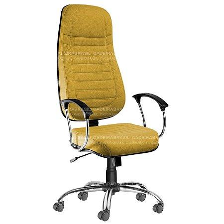 Cadeira Escritório Presidente Extra Giratória com Braços e Base Cromada Lacerta CB 700