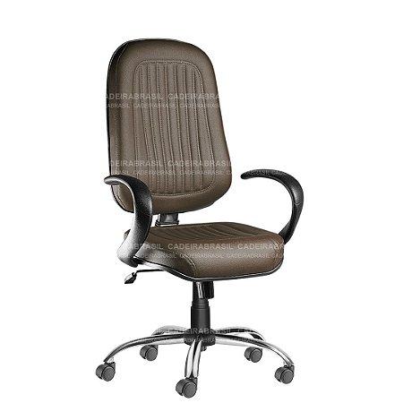 Cadeira Escritório Presidente Giratória com Braços e Base Cromada Milão Plus CB 351