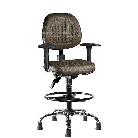 Cadeira Caixa Ergonômica Executiva com Braços Reguláveis e Base Cromada Milão Plus CB 357