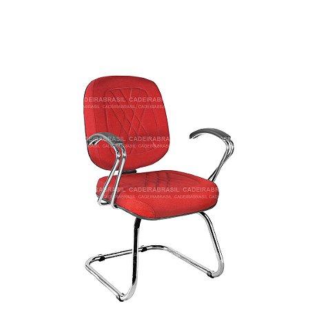 Cadeira Fixa Diretor com Braços e Base Cromada Senna CB 403