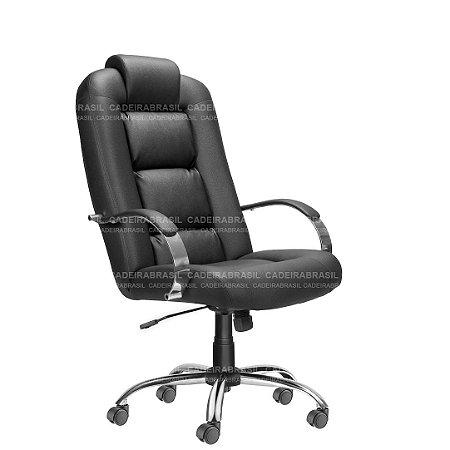 Cadeira Escritório Presidente Giratoria Cromada Siena Plus CB 1401