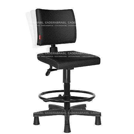 Cadeira Caixa Alta Ergonômica Executiva com Braços Base Aço Capa Ideale CB 3024