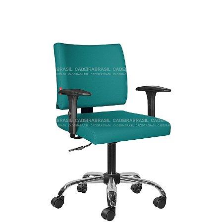 Cadeira Escritório Executiva com Braços Base Cromada Ideale Plus CB 3029