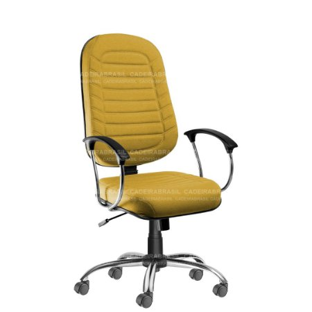 Cadeira Escritório Presidente Giratória com Braços e Base Cromada Lacerta CB 709