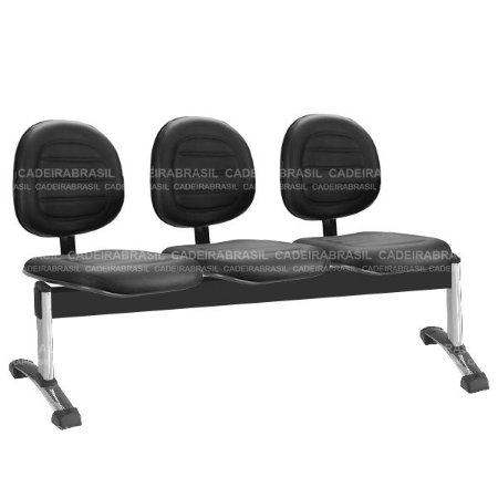 Longarina 3 Lugares Executiva Ravan Plus CB 261 Cromada Cadeira Brasil