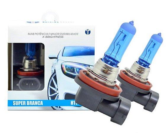 PAR LAMPADAS SUPER BRANCA H11 8500K 55W 12V TECH ONE