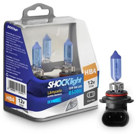 PAR LAMPADAS SUPER BRANCA HB4 8500K 55W 12V SHOCKLIGHT